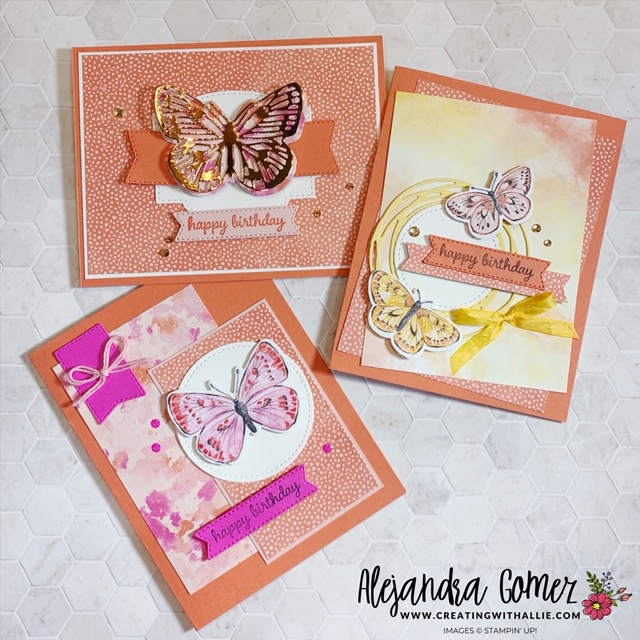 How to make three beautiful birthday cards using the Butterfly Bouquet Suite from Stampin' Up!