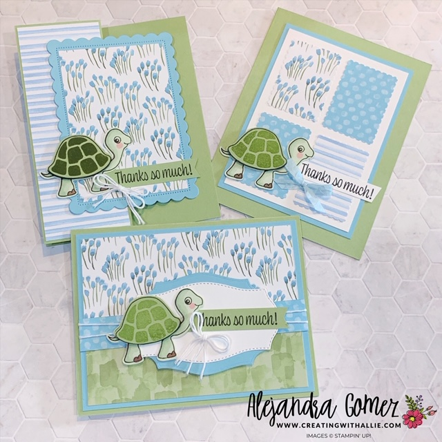 Three cute Thank you cards using the turtle friends bundle from Stampin' Up!