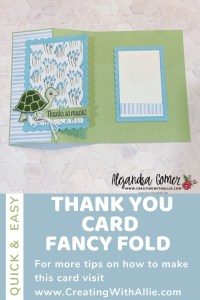 Fancy Fold - cute Thank you card ideas using the Turtle friends bundle from Stampin; Up!