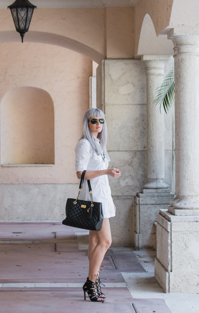 Pastel Hair Ideas | White Shirtdress
