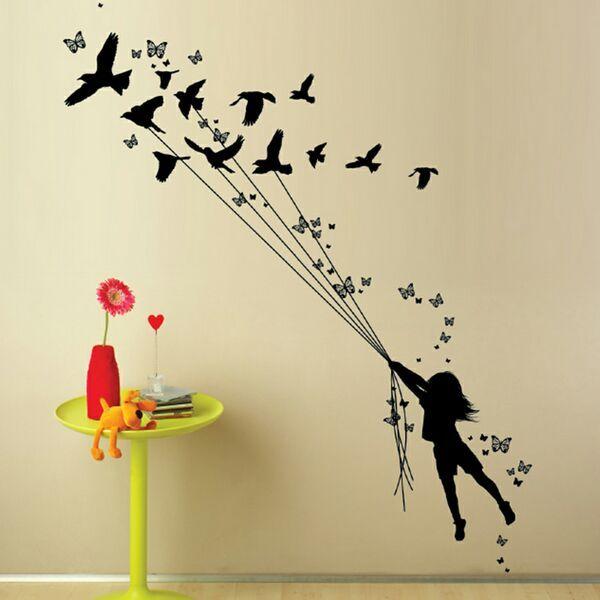 DCWV HOME  Wall Art  Black Vinyl  Girl With Birds