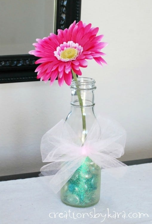 Mothers Day Bottle Vases with Martha Stewart Glitter Paint