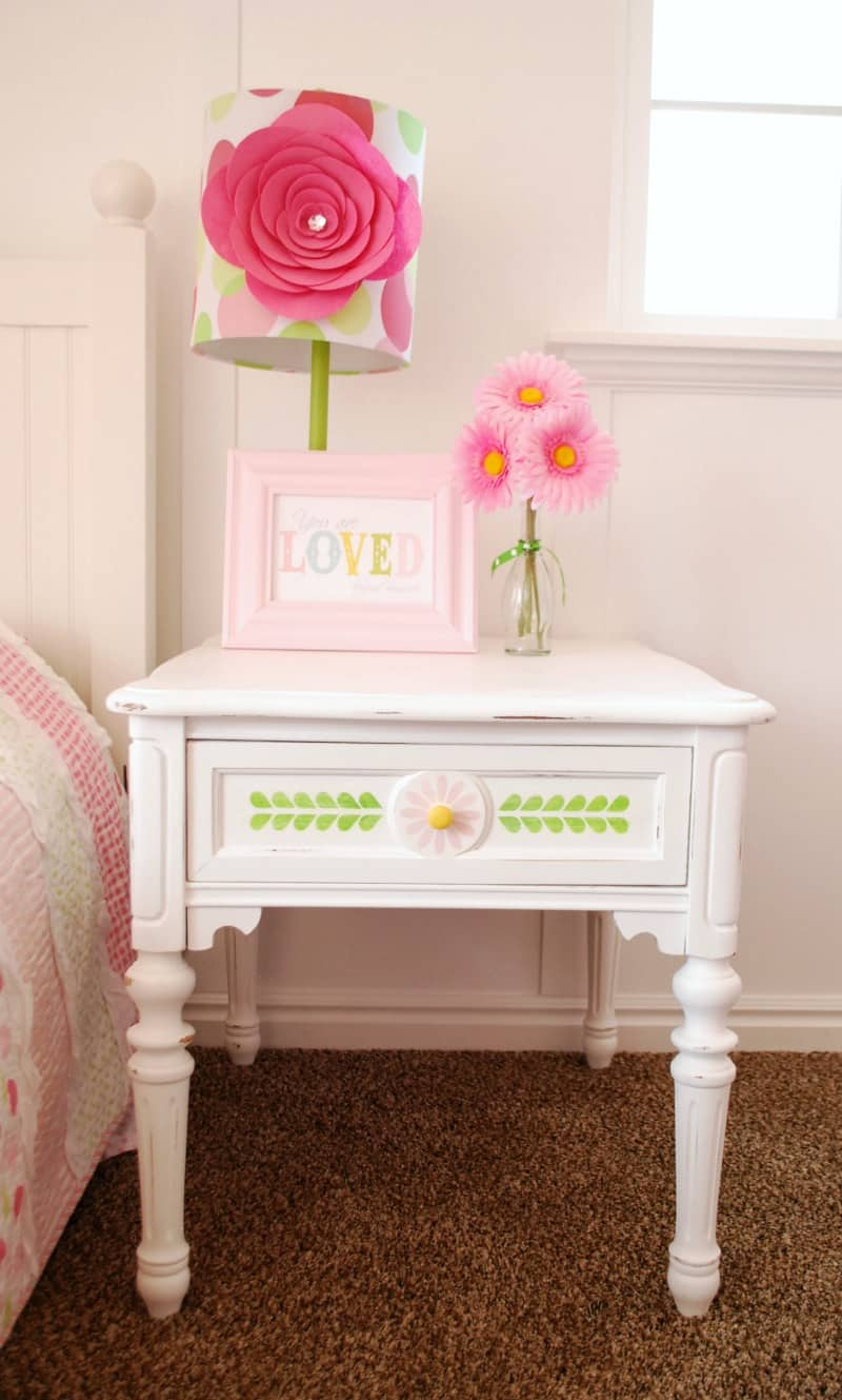 Stenciled Nightstand With Vintage Decor Paint