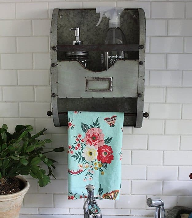 kitchen towel rack cabinet drawer hardware farmhouse style galvanized decor - creations by kara
