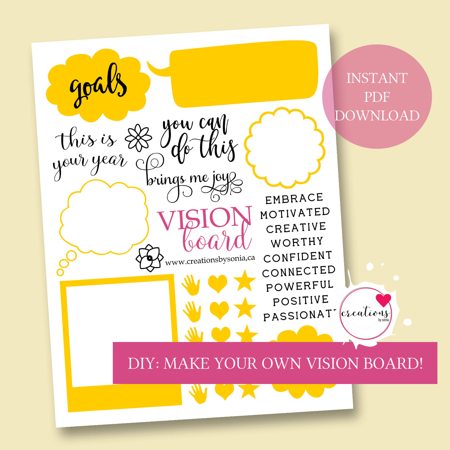 Free Digital Printable For Vision Board Planning And