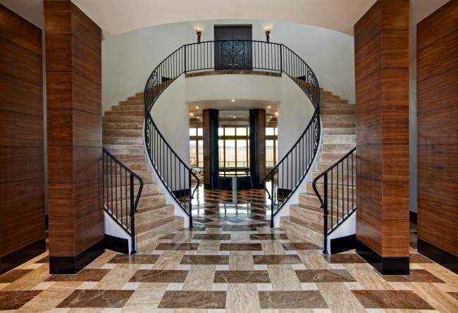Custom designed marble floor (mixed colors) in Denver, Colorado.