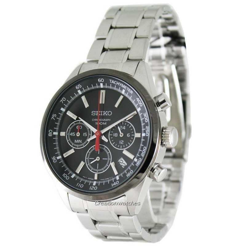 Seiko Chronograph Stainless Steel Black Ion SSB045P1 SSB045P Mens Watch