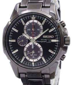 Seiko Solar Chronograph Alarm Black Dial SSC095P1 Mens Watch