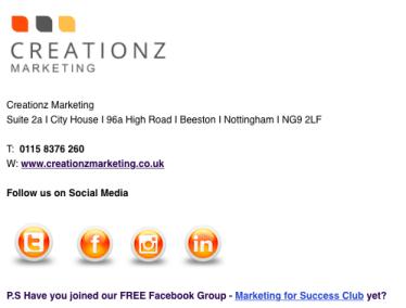 Creationz Marketing, Email Footer, Marketing Advice, Nottingham