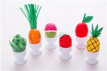 fructe si legume - 17 modalitati creative de a decora ouale de Paste