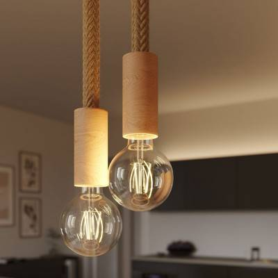 multiple 2 fall pendant light complete with 2xl rope cable and wood finishing