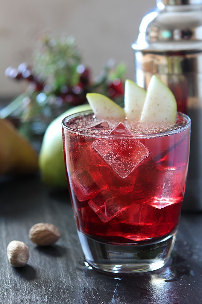 Jubilee cocktail with vodka red wine and spiced pear for Cocktail recipes with white wine