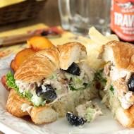 Gorgonzola Chicken Salad Sandwich with Grapes and Walnuts
