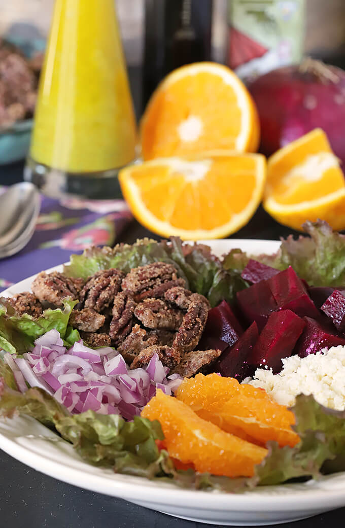 Candied Cinnamon and Sugar Pecans on a Salad with Beets and Oranges