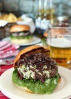 Bison Burger with Blue Cheese and Bacon Caramelized Onions