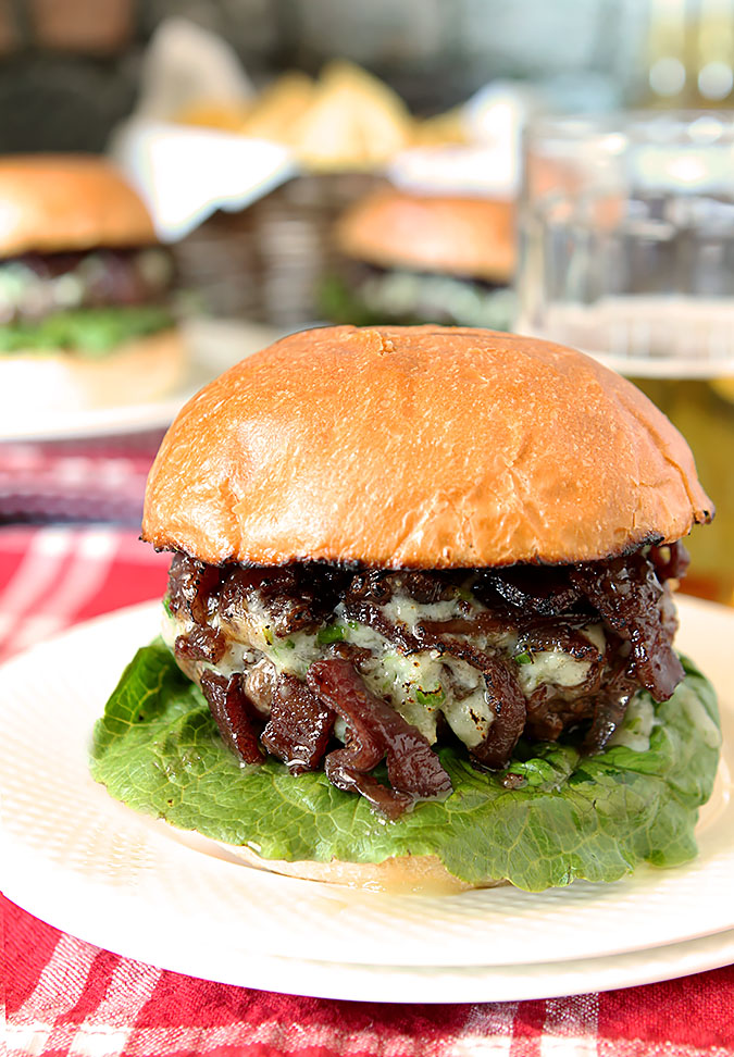 Blue Cheese Bison Burger with Bacon Caramelized Onions