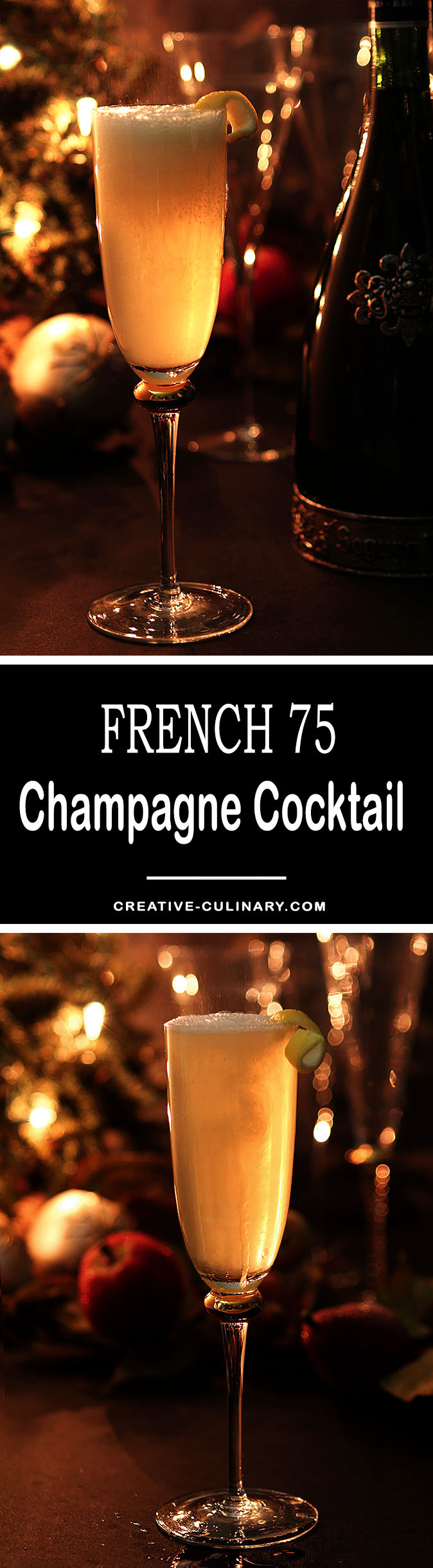 The French 75 Champagne Cocktail is an elegant cocktail with a history; perfect for any celebration but we especially love to serve them on New Year's Eve.