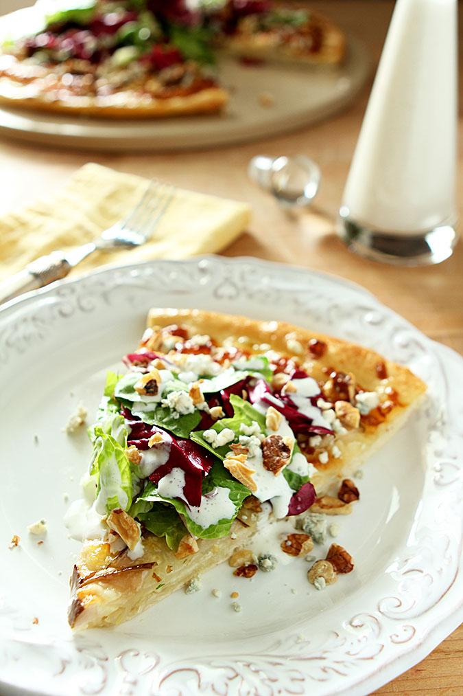 Pear Gorgonzola And Hazelnut Pizza With Mixed Greens