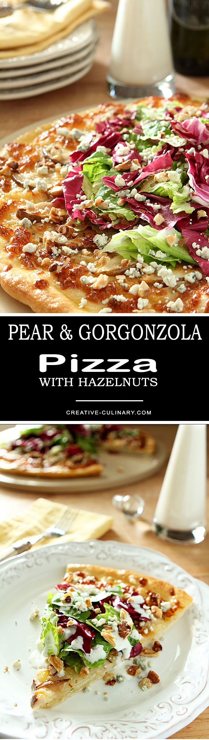 I wanted to recreate a favorite from California Pizza Kitchen and I think this Pear, Gorgonzola and Hazelnut Pizza with Mixed Greens was right on the money. It's light, so tasty and pretty to boot!