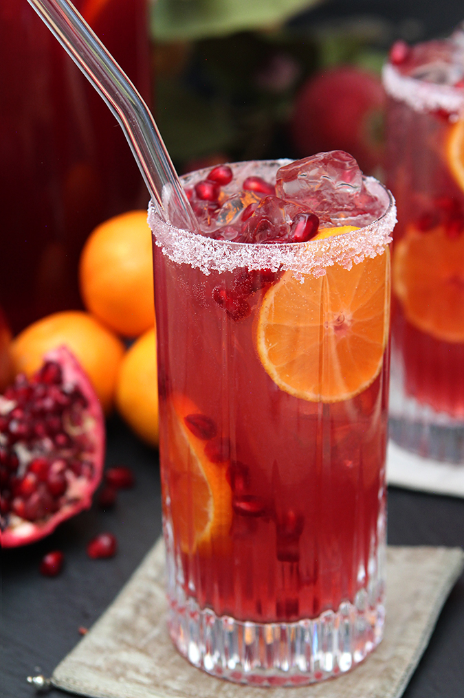 Pomegranate and blood orange tequila spritzer creative for Party drinks with tequila