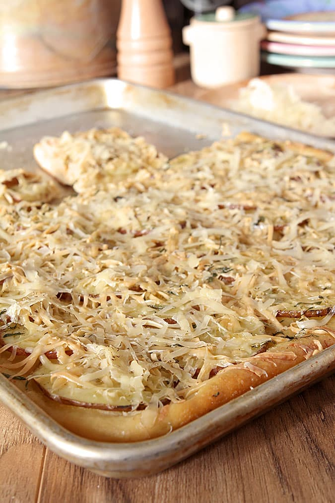 Potato Pizza with Smoked Gouda Cheese in the Pan