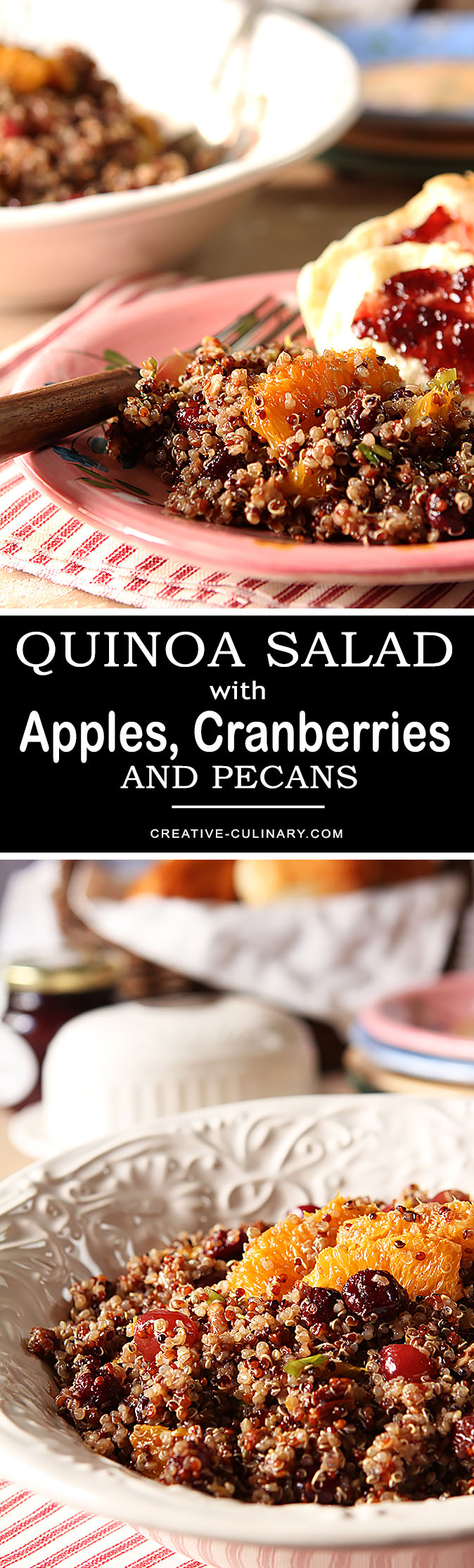 Quinoa Salad with Oranges, Pecans and Cranberries is a beautiful Fall salad that is both healthy and delicious. Perfect for the holidays!