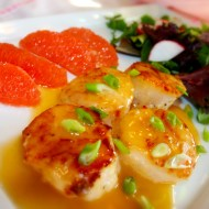 Scallops with Pink Grapefruit Beurre Blanc for #WaunStrong Wednesday