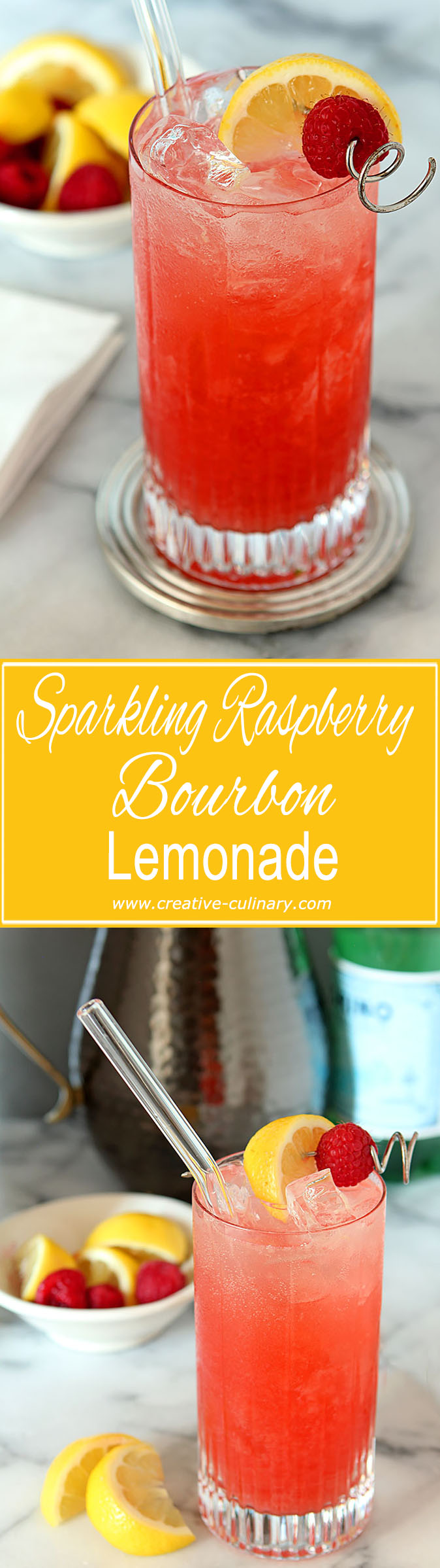 Not ready for fall? Me either...so mix some lemonade, raspberries and bourbon for the perfect summer libation; this Sparkling Raspberry Bourbon Lemonade Cocktail.