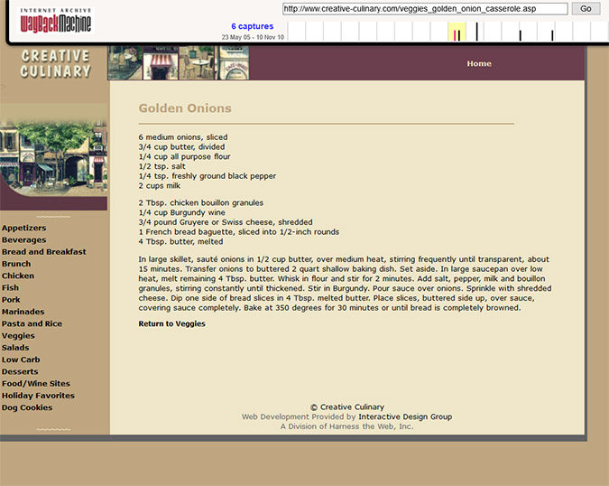 Creative Culinary - Wayback Machine