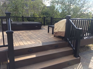 Deck  Patio with Hot Tub and Fire Pit making a great Outdoor Living Space in Dublin OH