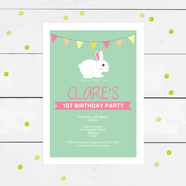 bunny rabbit invitation or easter party invite diy download girls birthday party invitation bunny baby shower invitation spring invite