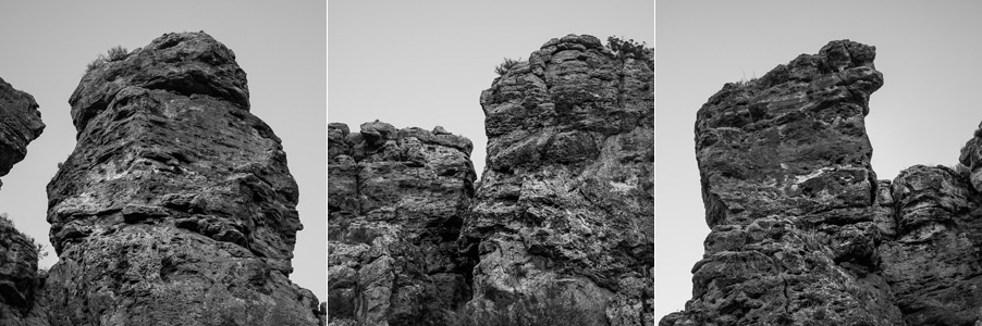 Triptych of black and white landscape photos of rock formations taken in Gorafe, Spain