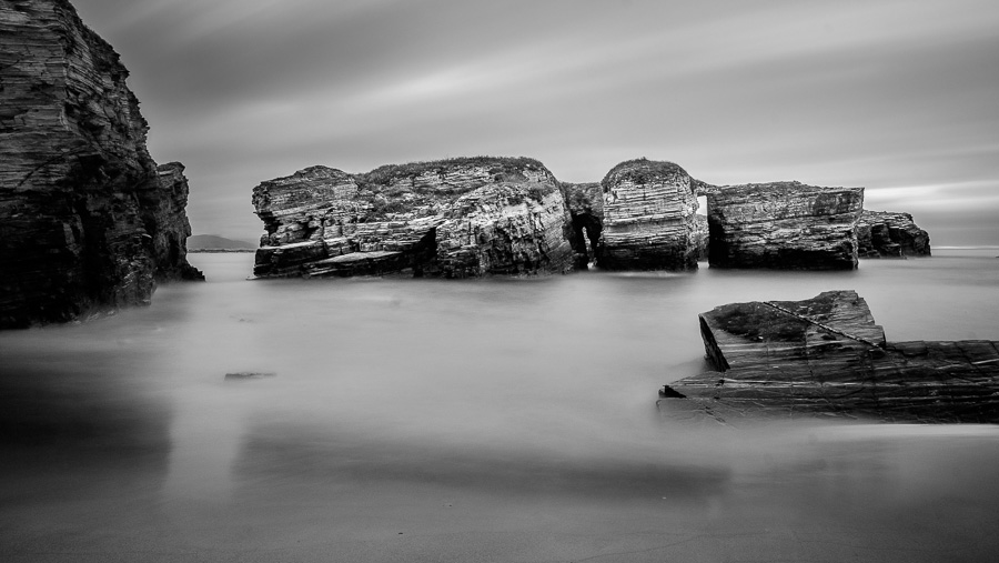 Black and white long exposure seascape taken in Galicia, Spain