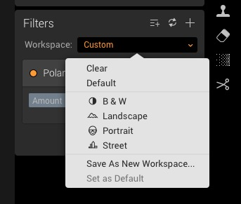 Luminar built-in workspaces