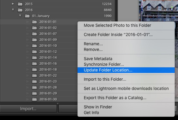 Folder contextual menu in Lightroom Library module