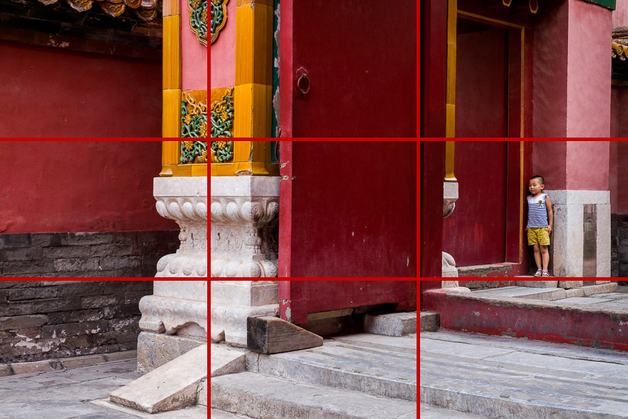 Street photo of boy in Forbidden City with rule of thirds grid