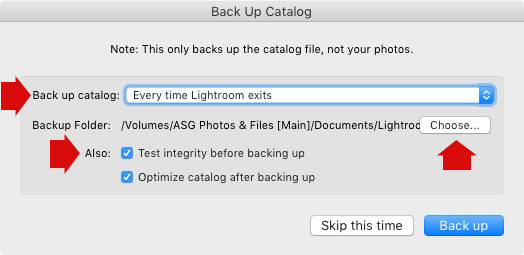 Lightroom Back Up Catalog window