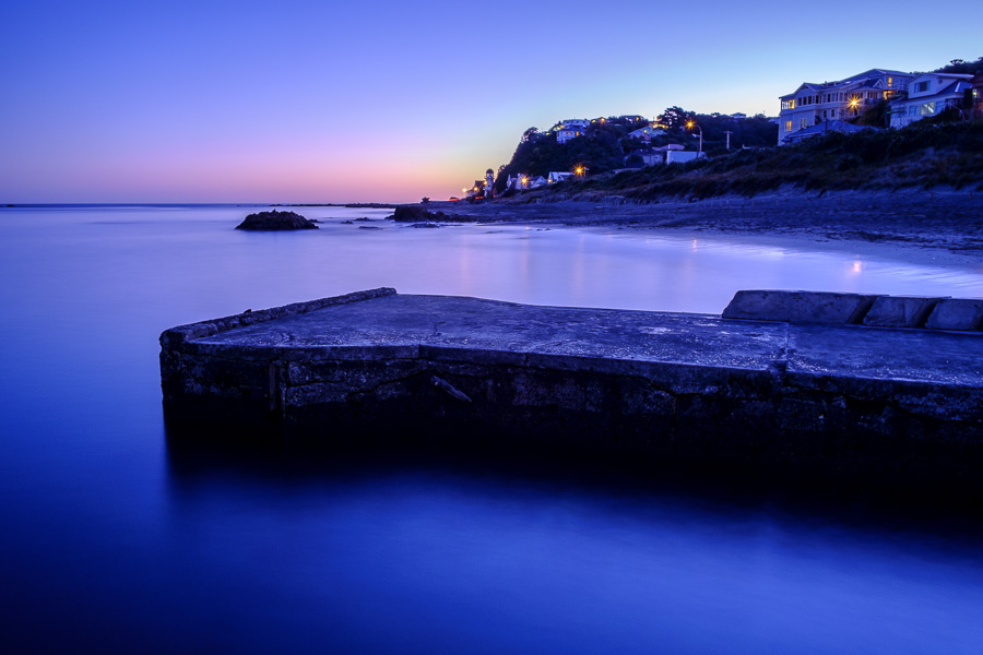 Moody long exposure landscape photo taken at dusk