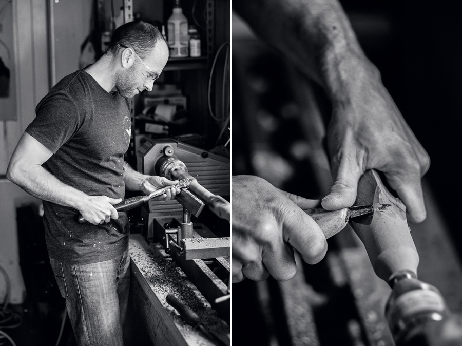 Black and white photos of man making a wooden flute