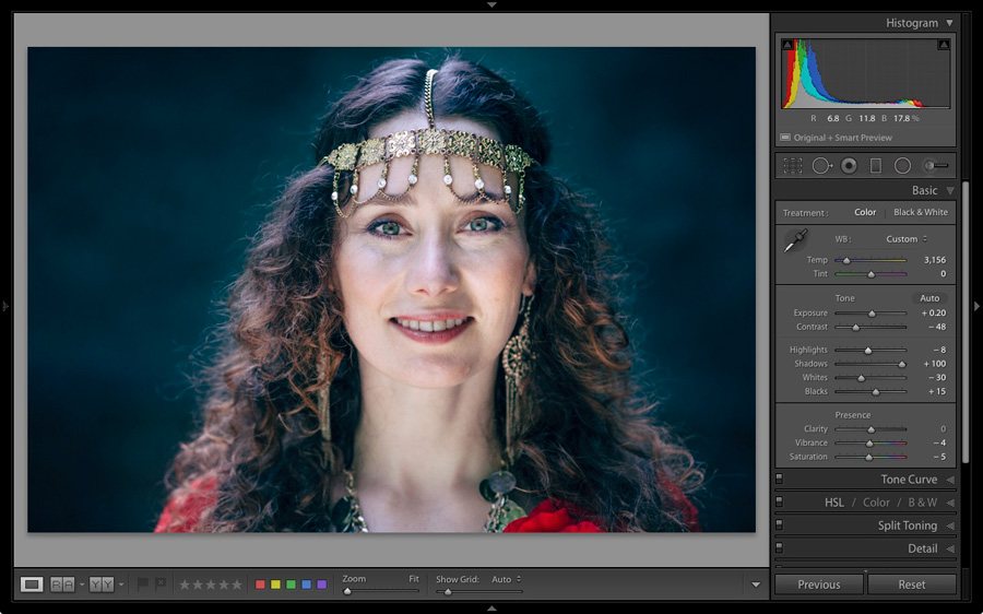 A portrait displayed in the Lightroom Develop module