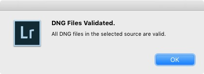DNG file validation in Lightroom
