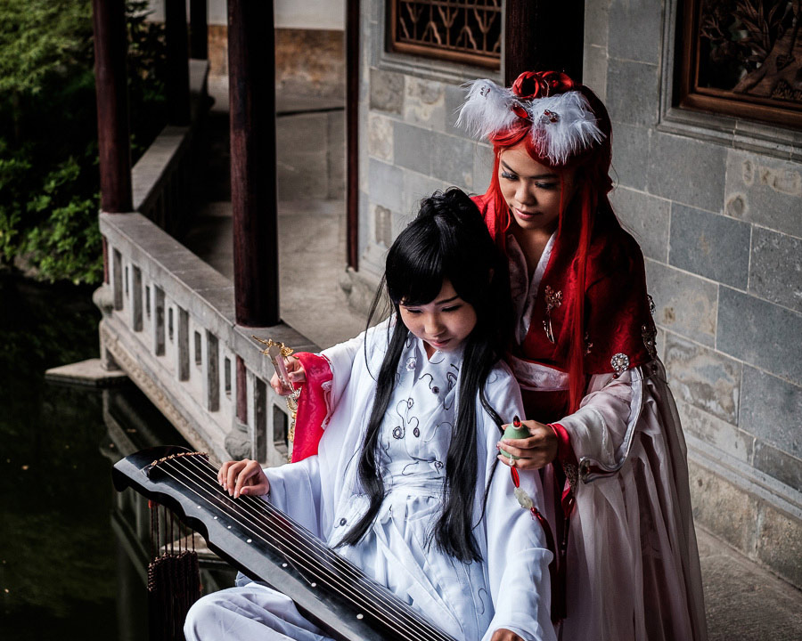 Portrait of two girls dressed as cosplay characters taken in Hangzhou China