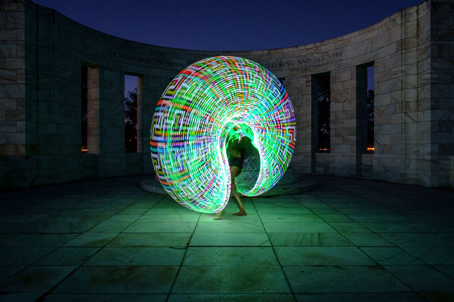 Photo of circus performer using Future Hoop to paint with light at Massey Memorial in Wellington New Zealand