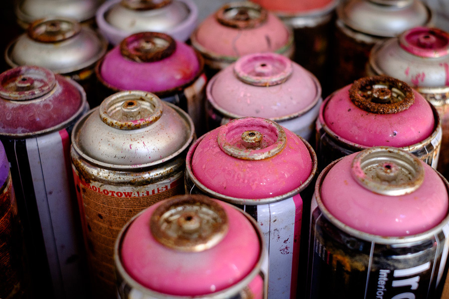 Photo of artist's spray cans taken with Fujinon 35mm lens