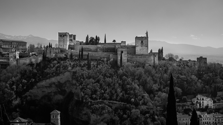 Black and white landscape photo of the Alhambra Palace in Granada, Spain