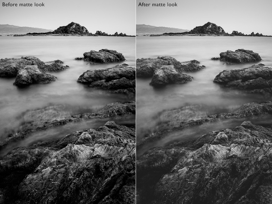 Before and after black and white landscape photos showing matte look in Lightroom