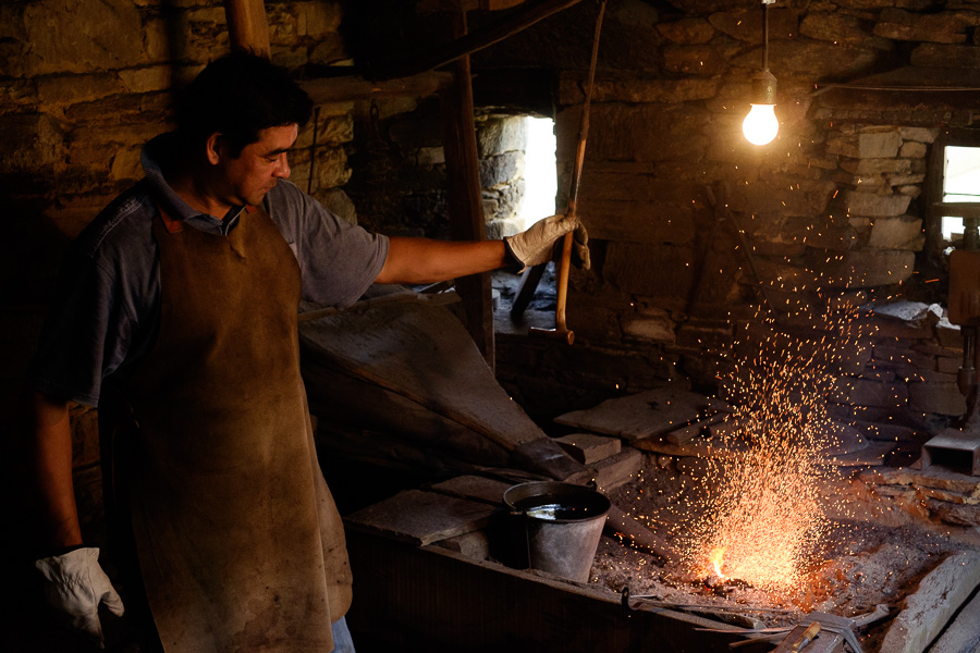 Photo of a man in a knife making factory in Asturias, Spain
