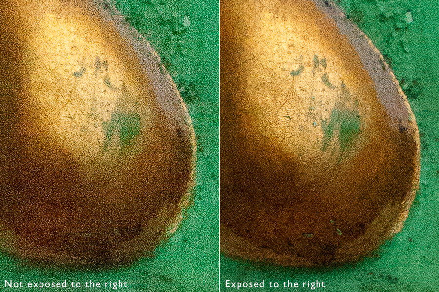 Comparison of two photos showing how exposing to the right reduces noise