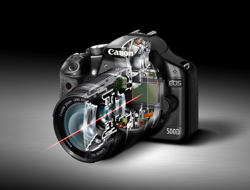 Cut away image of digital SLR camera showing path of light through body of digital SLR system with reflex mirror in up position, in Live View