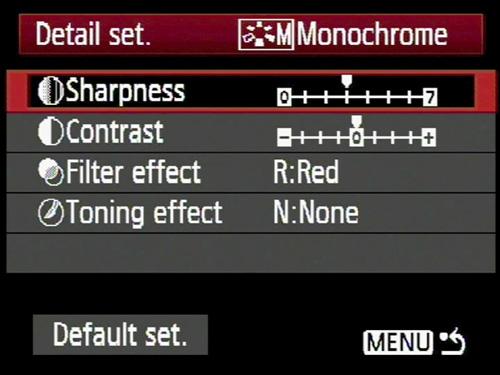 Monochrome mode Canon EOS camera